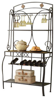 Acme Furniture Kiele Bakers Rack Oak and Antique Black