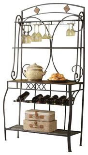 Acme Furniture Kiele Bakers Rack Oak and Antique Black