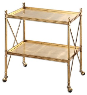 Amaranto 30 quot Serving Cart Bright Gold Leaf Clear Tempered Glass