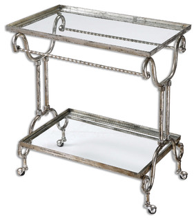 Uttermost Acasia Silver Tea Serving Cart