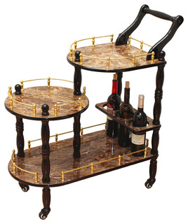 3 Tier Serving Tea Cart Gold Marble Finish