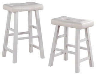 Faux Leather Saddle Seat Stools Set of 2 White
