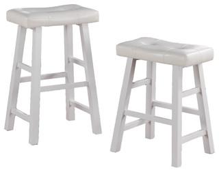 Faux Leather Saddle Seat Stools Set of 2 White