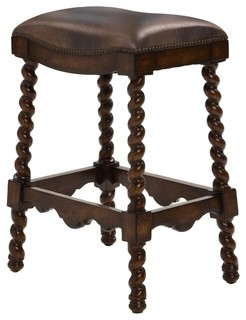 Coventry Bar Stool Dark Leather