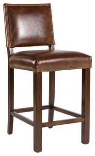 Brown Leather Retro Aged Counter Stool
