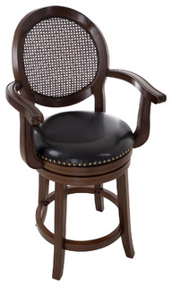 Wooden and Leather Swivel Stool With Armrests Dark Brown 26 quot