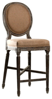 Medallion Oak French Country Counter Stool in Copper Linen