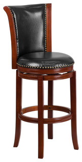 30 quot H Dark Chestnut Wood Bar Stool With Black Leather Swivel Seat