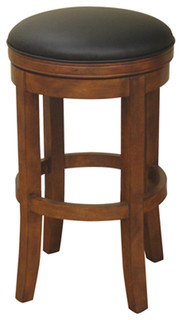 American Heritage Winston Stool in Amaretto with Black Leather 26 Inch