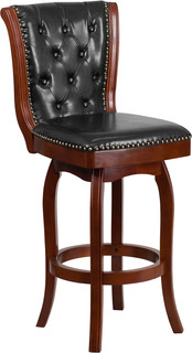 30 quot High Wood Bar Stool With Black Leatherette Swivel Seat Cherry