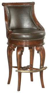Tatum Swivel Barstool Dark Leather