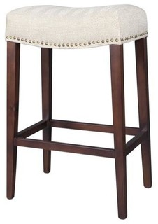 Saddle Khaki Herringbone Tan Counter Stool