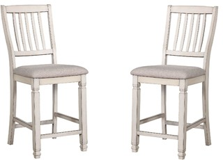 Antique White Counter Height Chairs Padded Fabric Cushions Set of 2
