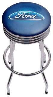 Ford Oval Chrome Ribbed Bar Stool