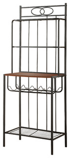 Mercer Metal and Wood Bakers Rack With Wine Storage