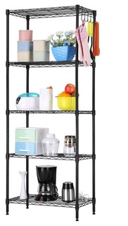 Black Metal 5 Tier Bakers Rack Kitchen Storage Shelving Unit