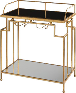 Burgess 34 3 quot Bar Cart Antique Gold Leaf Black Clear Glass