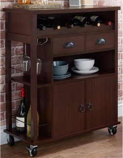 Furniture of America Jacquelyn Transitional Wine Cart Espresso