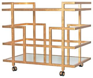 Ward Hollywood Regency Gold Mirror 2 Tier Serving Bar Cart