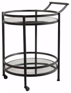 Round Metal Serving Cart With Castors Black