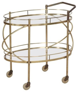 Consigned Vintage Mid Century Modern Brass and Glass Bar Cart Table circa 1960s