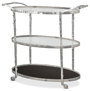 Vineyard Hollywood Regency 3 Shelf Nickel Bar Cart