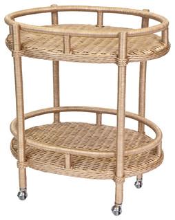 Sausalito Rattan Wrapped Oval Bar Cart Natural