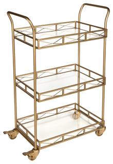 Kate and Laurel Ketia Metal 3 Tiered Tray Bar Cart Gold