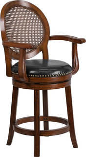 26 quot High Wood Counter Height Stool With Arms and Leather Swivel Seat