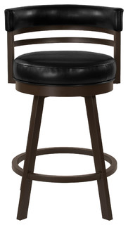 Venice 26 quot Swivel Barstool Cantina Black Faux Leather amp Capuccino Finish