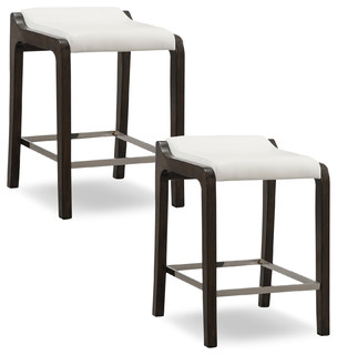 Buffed Pecan Wood Fastback Counter Stool Ivory Faux Leather Seat Set of 2