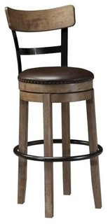 Bowery Hill 30 25 quot Faux Leather Swivel Bar Stool Light Brown