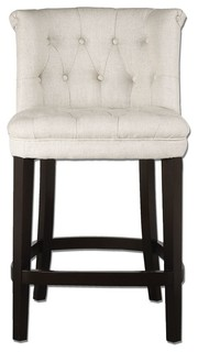 Tufted White Counter Bar Stool Dark Wood Plus 40 quot