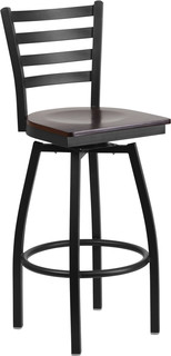 Hercules Series Ladder Back Swivel Metal Bar Stool Wood Seat Black Walnut