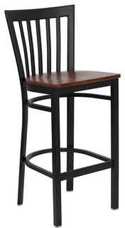 Hercules Series Black School House Back Restaurant Bar Stool Wood Seat Cherry