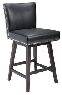 Swivel Stool Leather Black Bar Height