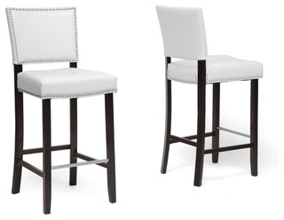 Aries Bar Stools With Nailhead Trim Set of 2 White