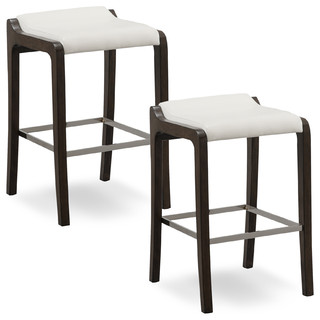 Buffed Pecan Wood Fastback Bar Height Stool Ivory Faux Leather Seat Set of 2