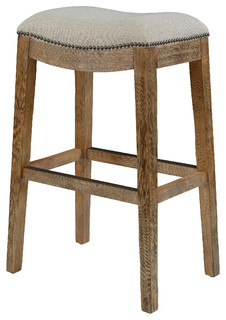 Duchess Saddle Stool With Nail Head Accents And Cream Fabric 30 Bar Height