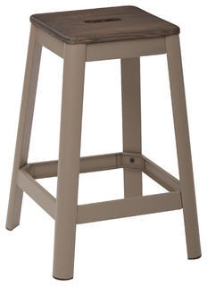 Hammond Metal Counter Stool With Darkwood Seat Frosted Cappuccino