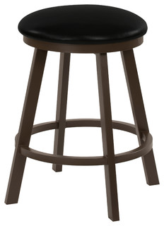 Fontana 26 quot Swivel Backless Barstool Black Faux Leather amp Capuccino Finish