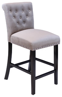 Ludlow Velvet Counter Stools Set of 2 Taupe