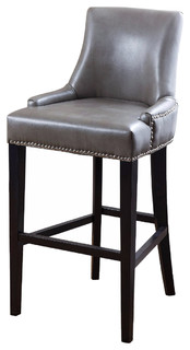 Newport Leather Nailhead Trim Bar Stool Gray
