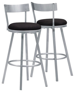 Silver Metal Swivel Bar Stools Set of 2