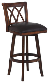 Sonoma Swivel Wood Stool Brown With Pecan Wood Counter Height