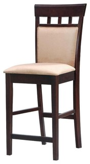 Coaster Rich Cappuccino 24 quot Counter Height Stools With Upholstered Back Set of 2