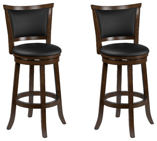 Corliving Dwg 109 B Woodgrove Brown Wood Bar Height Barstool Leather Set Of 2