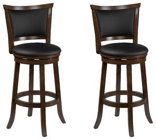 Corliving Dwg 109 B Woodgrove Brown Wood Bar Height Barstool Leather Set Of 2