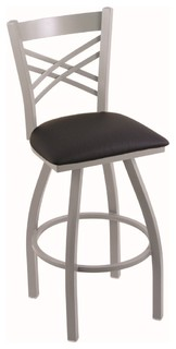 820 Catalina 25 quot Counter Stool Anodized Nickel Black Vinyl Seat 360 swivel