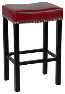 Tudor 26 quot Stool Bonded Leather Chrome Nails Red 26 quot
